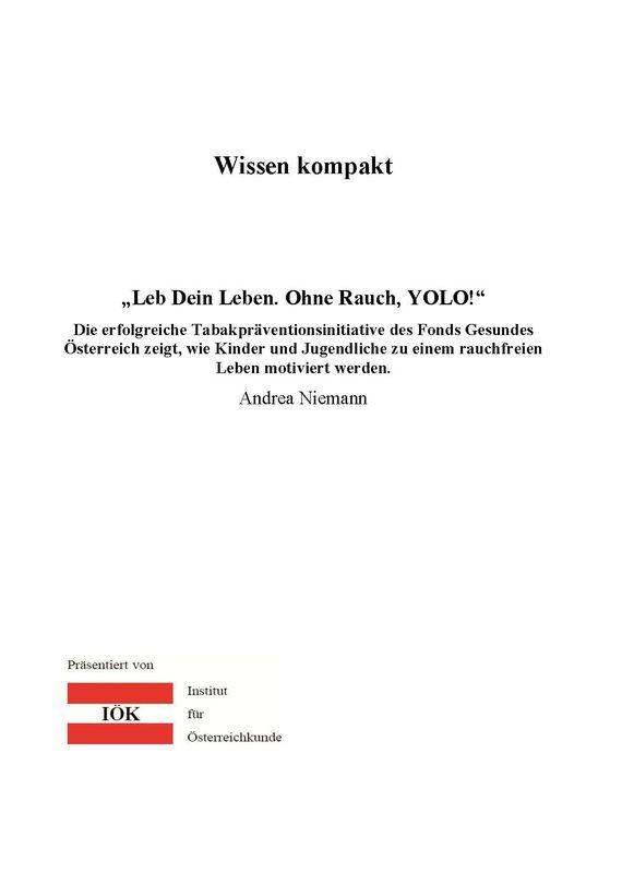 """Bucheinband von 'Wissen kompakt - """"Leb dein Leben. Ohne Rauch, YOLO!""""'"""