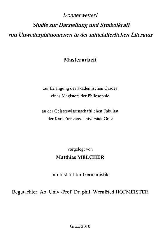 Bucheinband von 'Donnerwetter! - Studie zur Darstellung und Symbolkraft von Unwetterphänomenen in der mittelalterlichen Literatur'