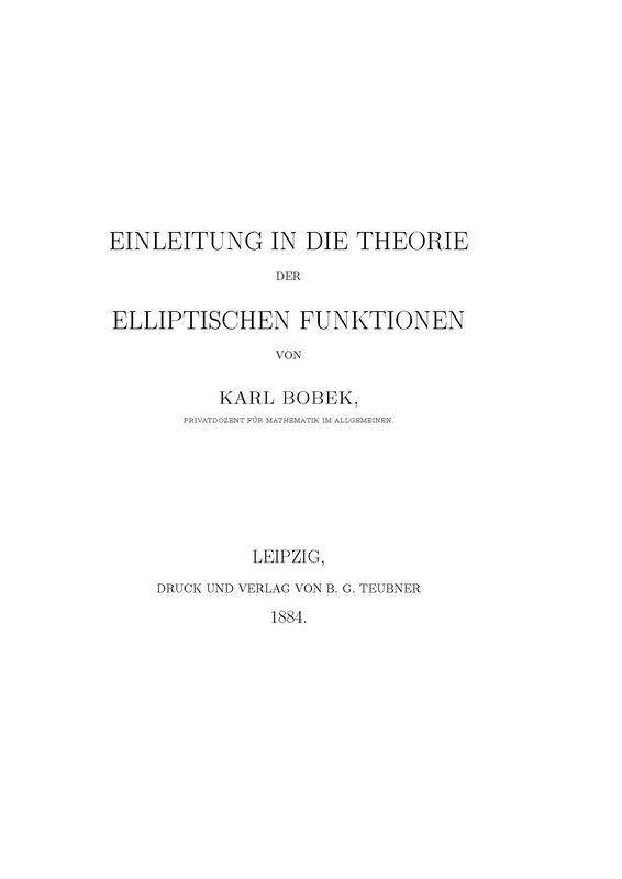 Cover of the book 'Einleitung in die Theorie der Elliptischen Funktionen'