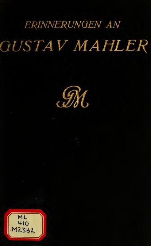 Cover of the book 'Erinnerungen an Gustav Mahler'