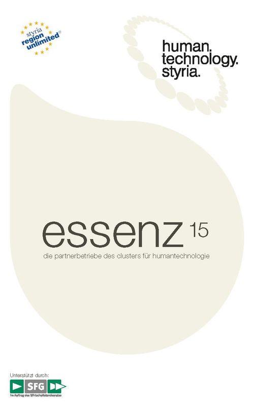 Bucheinband von 'essenz 15 - Die Partnerbetriebe des Clusters für Humantechnologie'