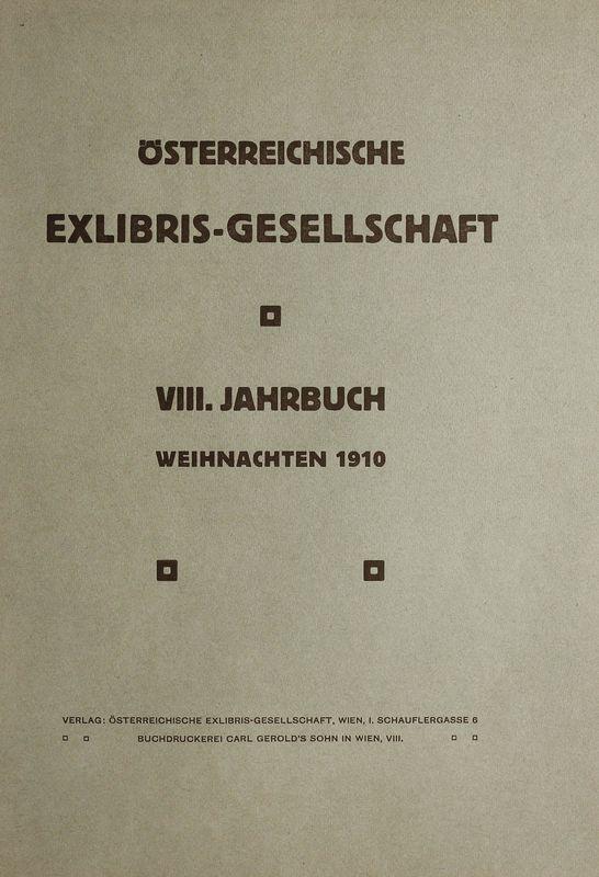 Cover of the book 'Österreichische Exlibris - Gesellschaft - VIII. Publikation, Volume VIII'