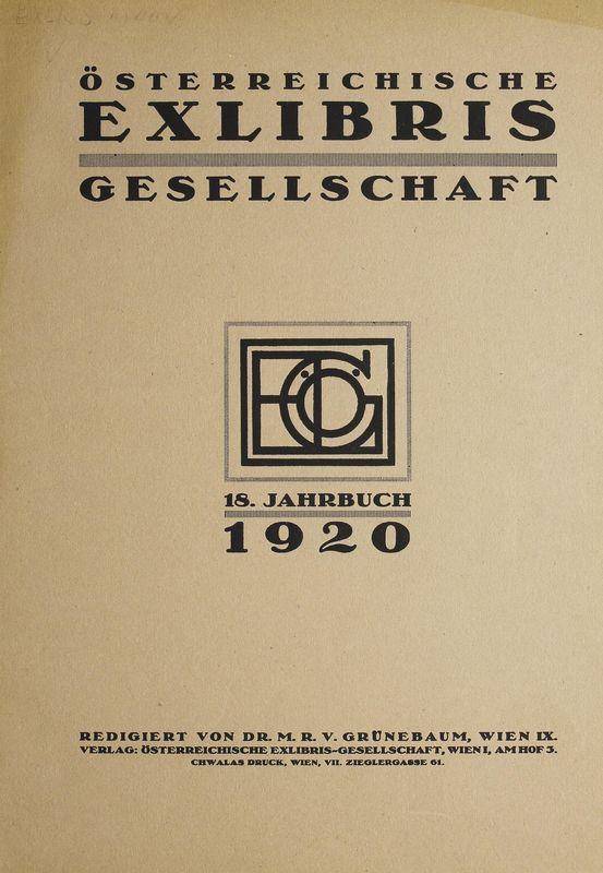 Bucheinband von 'Österreichische Exlibris - Gesellschaft - XVIII. Publikation, Band XVIII'