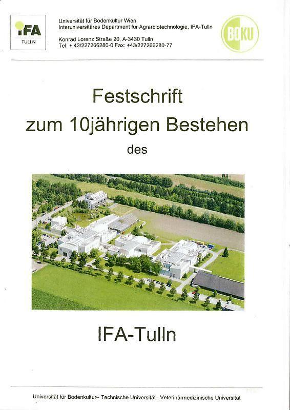 Bucheinband von 'Festschrift zum 10jährigen Bestehen des IFA-Tulln'