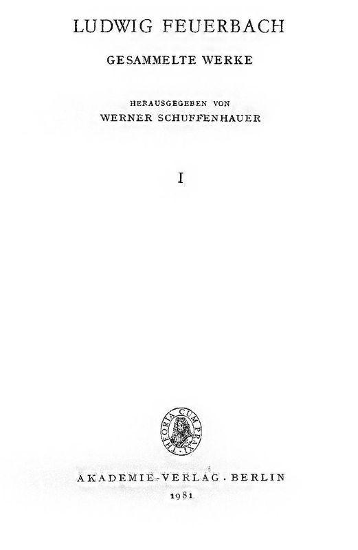 Bucheinband von 'Ludwig Feuerbach - Gesammlte Werke, Band 1'