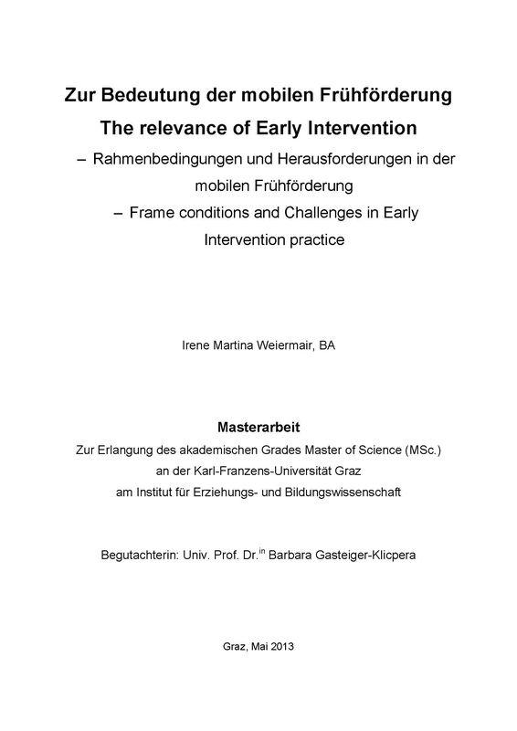 Bucheinband von 'Zur Bedeutung der mobilen Frühförderung - The relevance of Early Intervention - Rahmenbedingungen und Herausforderungen in der mobilen Frühförderung -  Frame conditions and Challenges in Early Intervention practice'