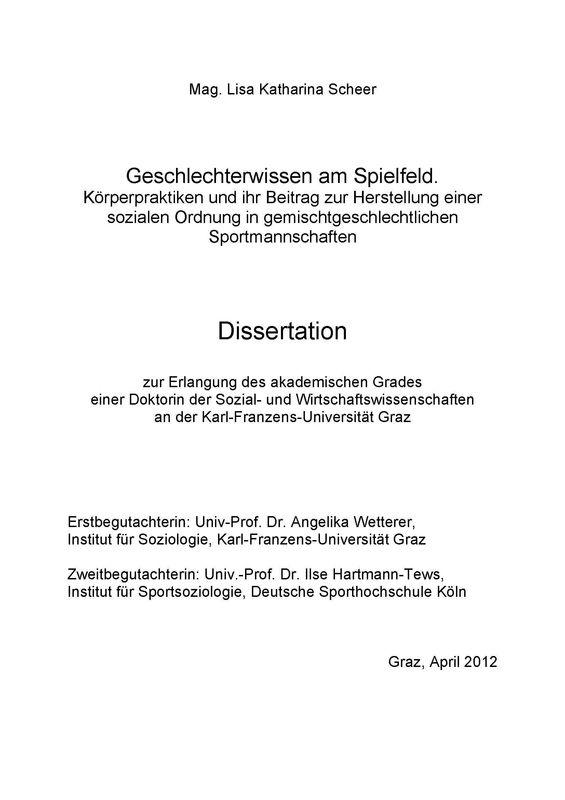 Cover of the book 'Geschlechterwissen am Spielfeld - Körperpraktiken und ihr Beitrag zur Herstellung einer sozialen Ordnung in gemischtgeschlechtlichen Sportmannschaften'
