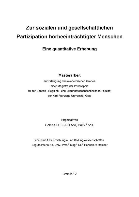 Bucheinband von Zur sozialen und gesellschaftlichen Partizipation hörbeeinträchtigter Menschen - Eine quantitative Erhebung