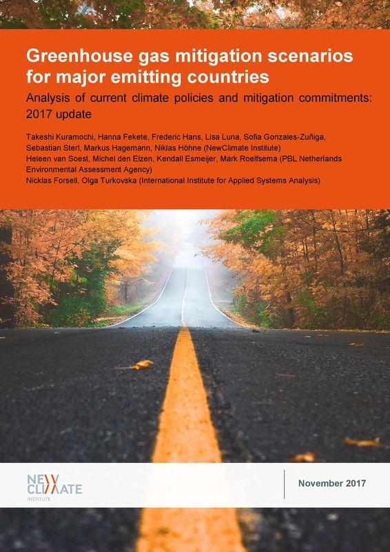 Cover of the book 'Greenhouse gas mitigation scenarios for major emitting countries - Analysis of current climate policies and mitigation commitments: 2017 update'
