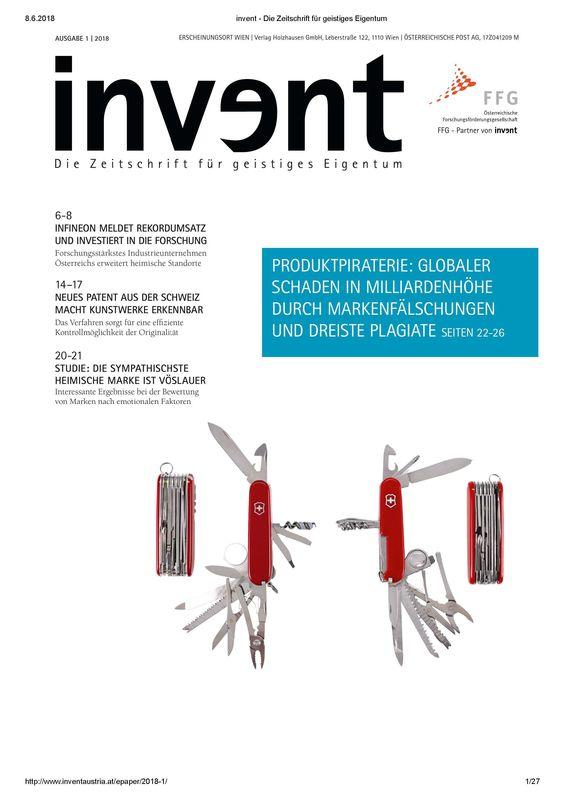 Bucheinband von invent - Die Zeitschrift für geistiges Eigentum, Band 1|2018