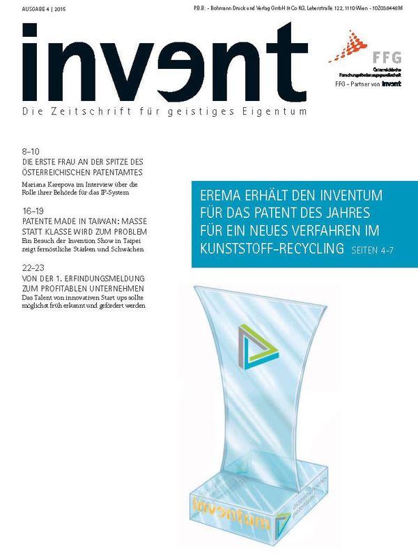 Bucheinband von 'invent - Die Zeitschrift für geistiges Eigentum, Band 4|2015'