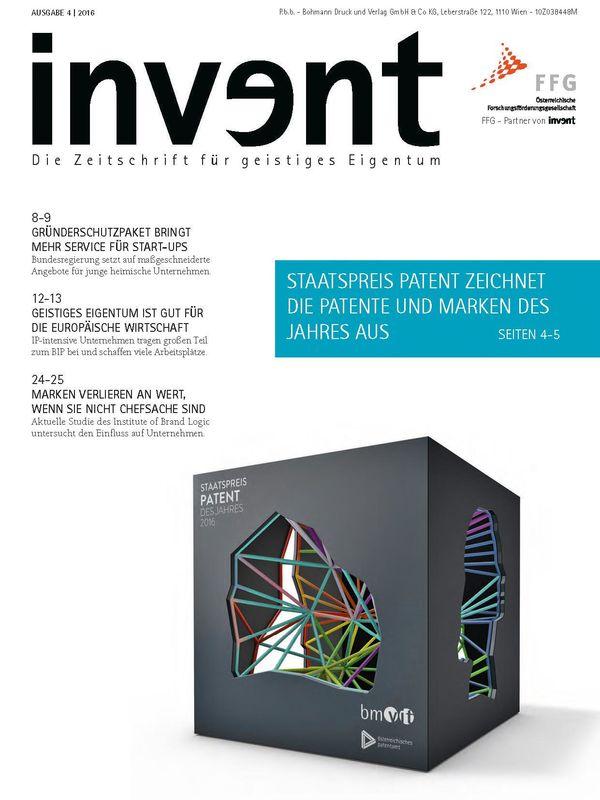 Bucheinband von 'invent - Die Zeitschrift für geistiges Eigentum, Band 4|2016'