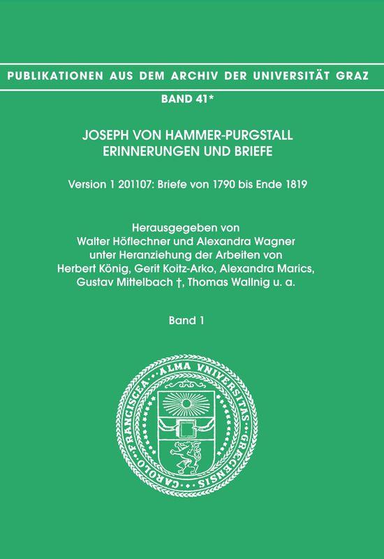 Bucheinband von 'Joseph von Hammer-Purgstall Erinnerungen und Briefe, Band 1'