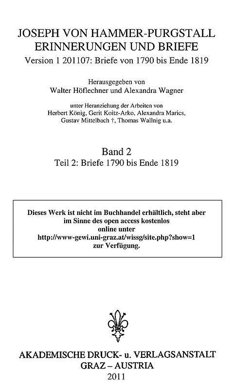 Bucheinband von 'Joseph von Hammer-Purgstall Erinnerungen und Briefe, Band 2'