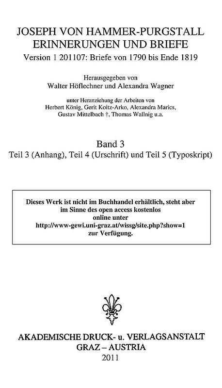 Bucheinband von 'Joseph von Hammer-Purgstall Erinnerungen und Briefe, Band 3'