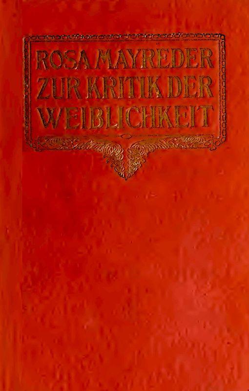 Cover of the book 'Zur Kritik der Weiblichkeit'