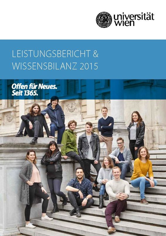 Cover of the book 'Leistungsbericht & Wissensbilanz 2015 der Universität Wien'