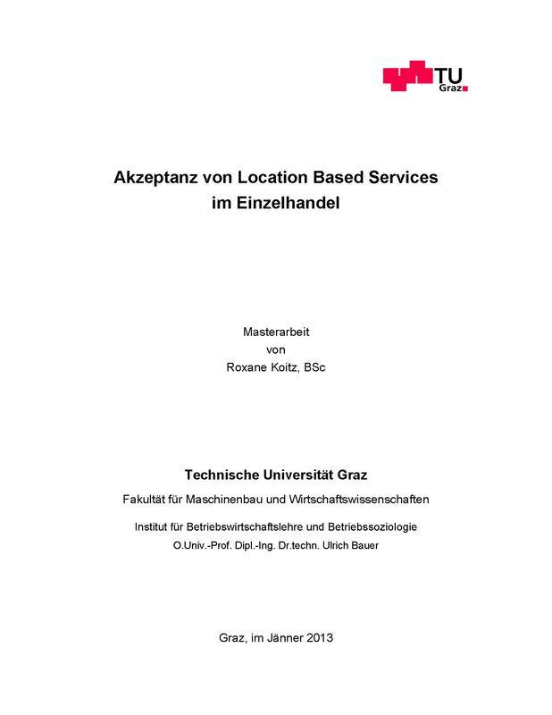 Bucheinband von Akzeptanz von Location Based Services im Einzelhandel