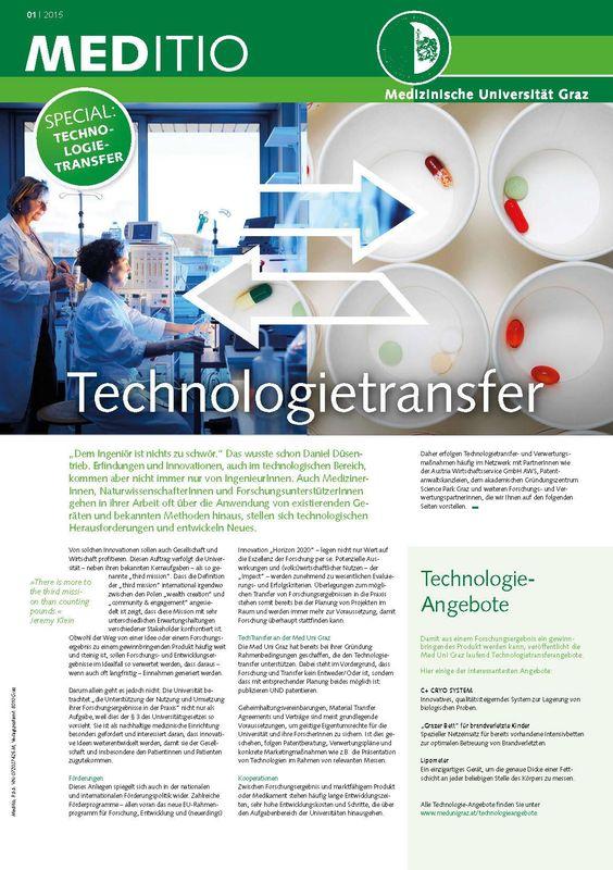 Bucheinband von 'MEDITIO - Neues von der steirischen Gesundheitsuniversität, Band 01|2015'