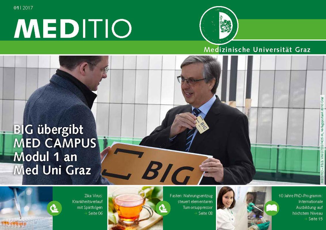Bucheinband von 'MEDITIO - Neues von der steirischen Gesundheitsuniversität, Band 01|2017'