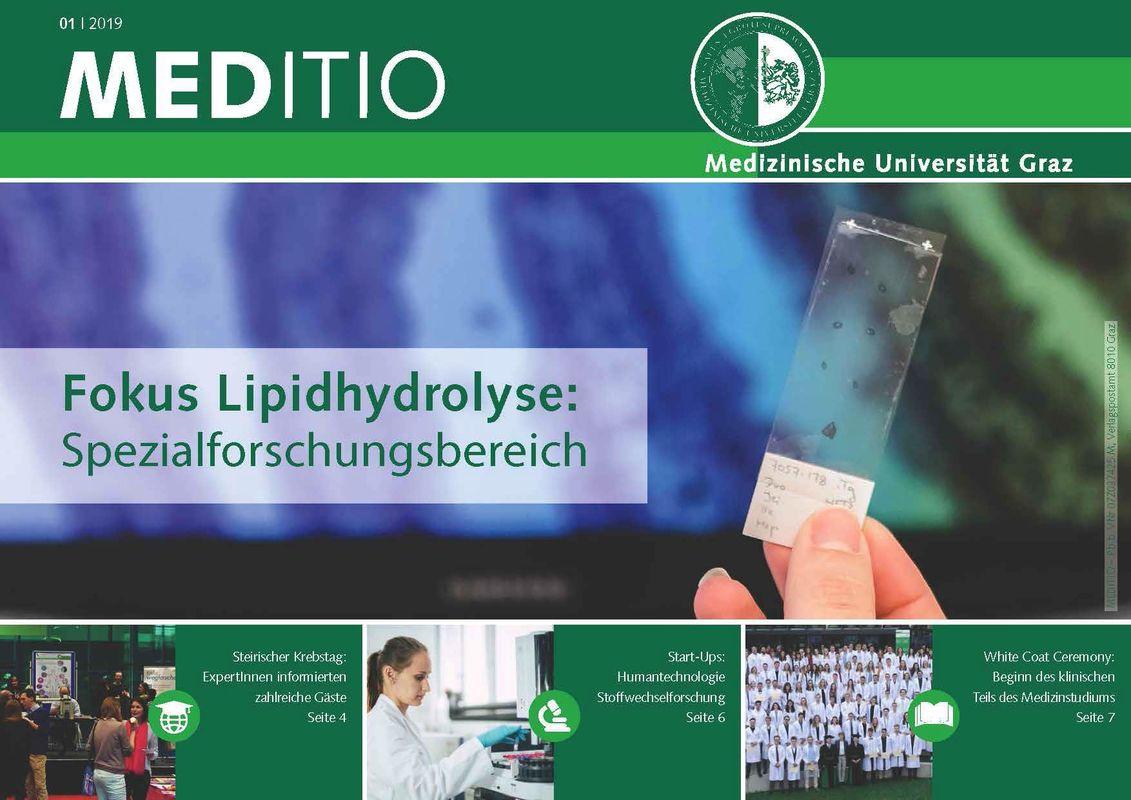 Cover of the book 'MEDITIO - Neues von der steirischen Gesundheitsuniversität, Volume 01|2019'