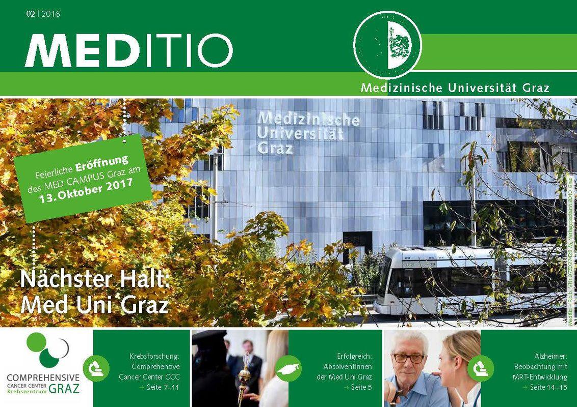 Bucheinband von 'MEDITIO - Neues von der steirischen Gesundheitsuniversität, Band 02|2016'