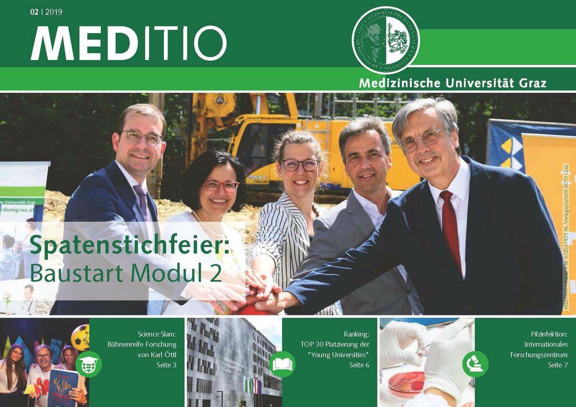 Bucheinband von 'MEDITIO - Neues von der steirischen Gesundheitsuniversität, Band 02|2019'