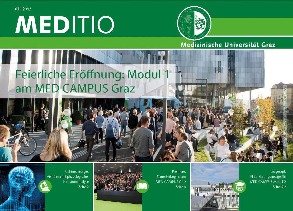 Bucheinband von 'MEDITIO - Neues von der steirischen Gesundheitsuniversität, Band 03|2017'
