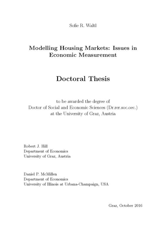 Bucheinband von Modelling Housing Markets: Issues in Economic Measurement
