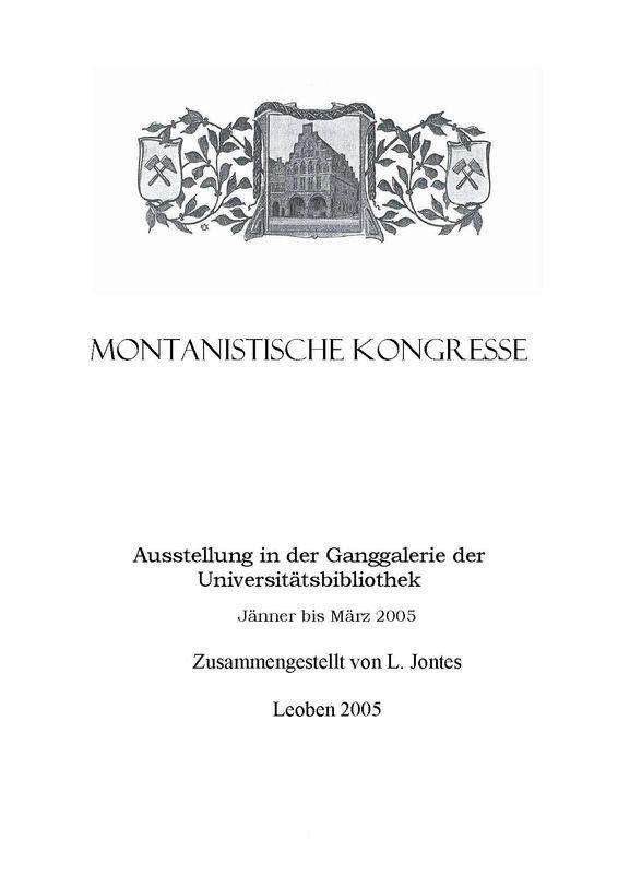 Bucheinband von 'Montanistische Kongresse'