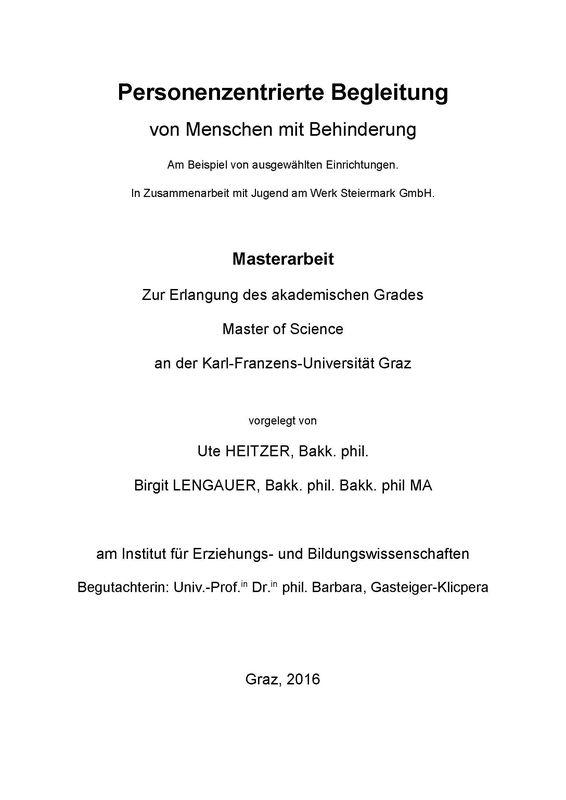 Bucheinband von 'Personenzentrierte Begleitung von Menschen mit Behinderung - Personenzentrierte Begleitung von Menschen mit Behinderung Am Beispiel von ausgewählten Einrichtungen. In Zusammenarbeit mit Jugend am Werk Steiermark GmbH.'