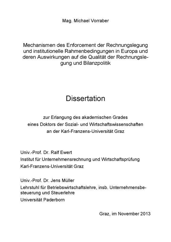 Cover of the book 'Mechanismen des Enforcement der Rechnungslegung und institutionelle Rahmenbedingungen in Europa und deren Auswirkungen auf die Qualität der Rechnungslegung und Bilanzpolitik'