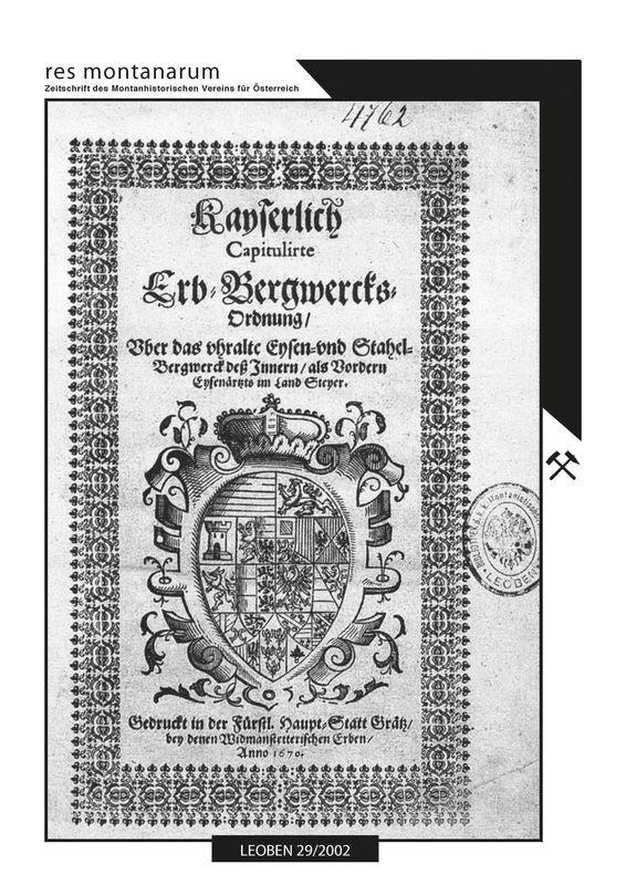 Bucheinband von 'res montanarum - Zeitschrift des Montanhistorischen Vereins für Österreich, Band 29'
