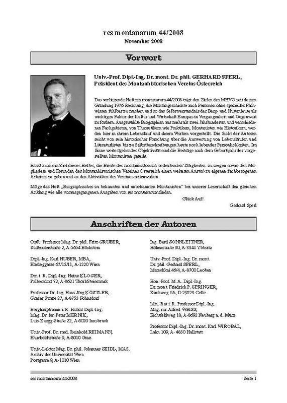 Bucheinband von 'res montanarum - Zeitschrift des Montanhistorischen Vereins für Österreich, Band 44'