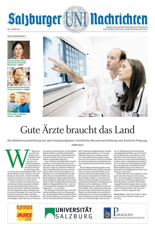 Bucheinband von 'Salzburger UNI Nachrichten, Band 1/2018'