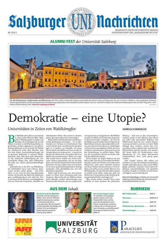 Cover of the book 'Salzburger UNI Nachrichten, Volume 2/2013'