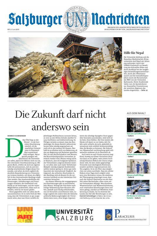 Bucheinband von 'Salzburger UNI Nachrichten, Band 2/2015'