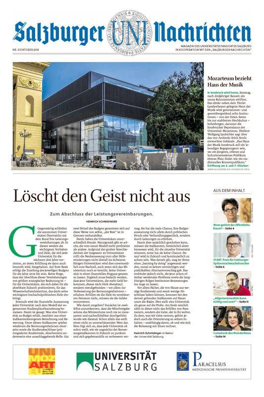 Bucheinband von 'Salzburger UNI Nachrichten, Band 3/2018'