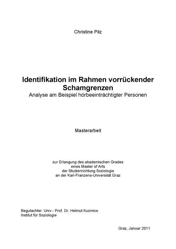 Bucheinband von 'Identifikation im Rahmen vorrückender Schamgrenzen - Analyse am Beispiel hörbeeinträchtigter Personen'