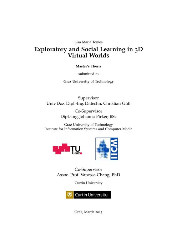 Bucheinband von Exploratory and Social Learning in 3D Virtual Worlds