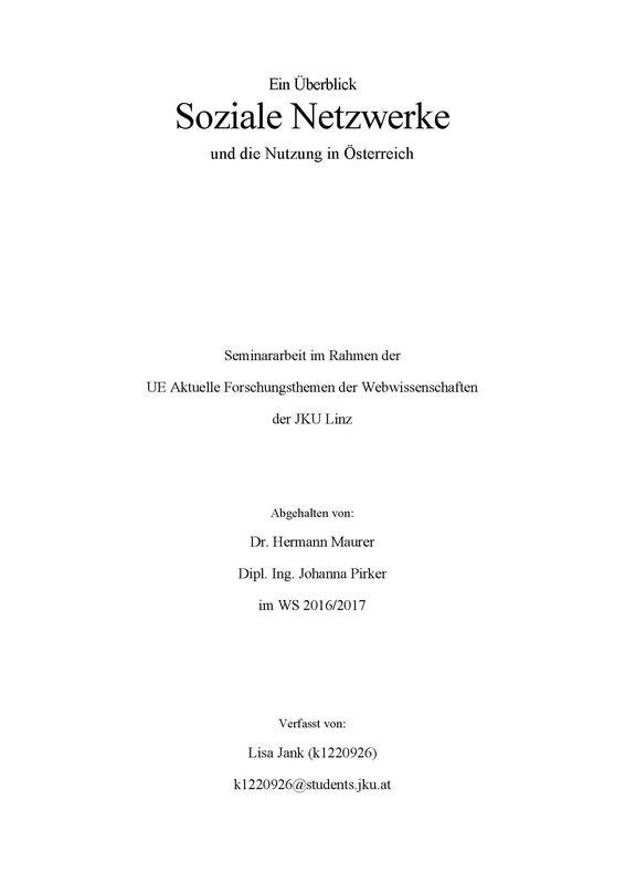 Bucheinband von Ein Überblick Soziale Netzwerke und die Nutzung in Österreich