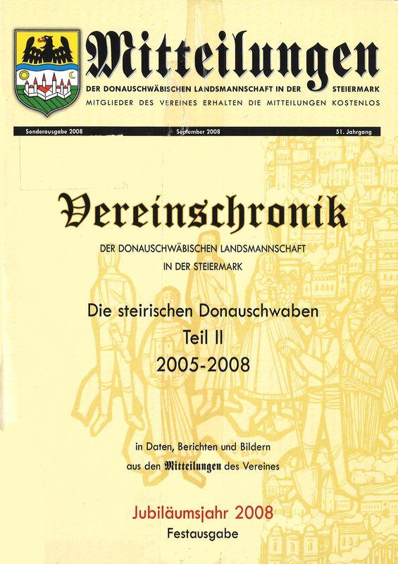 Bucheinband von 'Mitteilungen der donauschwäbischen Landsmannschaft in der Steiermark, Band September 2008'