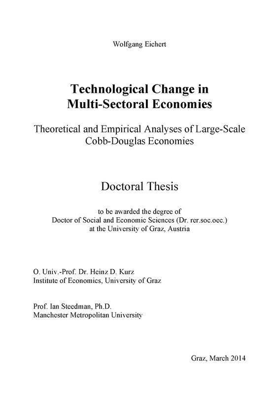 Bucheinband von Technological Change in Multi-Sectoral Economies - Theoretical and Empirical Analyses of Large-Scale Cobb-Douglas Economies