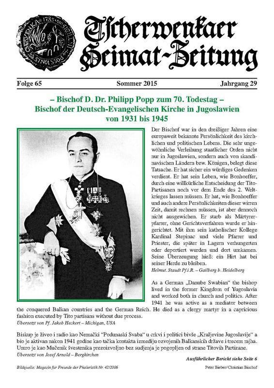 Bucheinband von 'Tscherwenkaer Heimat-Zeitung - Bischof D. Dr. Philipp Popp zum 70. Todestag – Bischof der Deutsch-Evangelischen Kirche in Jugoslawien von 1931 bis 1945, Band 65'