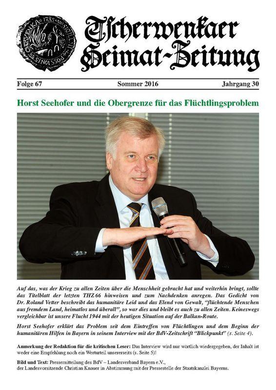 Bucheinband von 'Tscherwenkaer Heimat-Zeitung - Horst Seehofer und die Obergrenze für das Flüchtlingsproblem, Band 67'