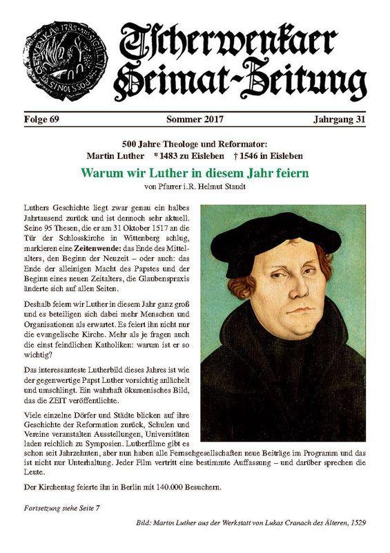 Bucheinband von 'Tscherwenkaer Heimat-Zeitung - Warum wir Luther in diesem Jahr feiern, Band 69'