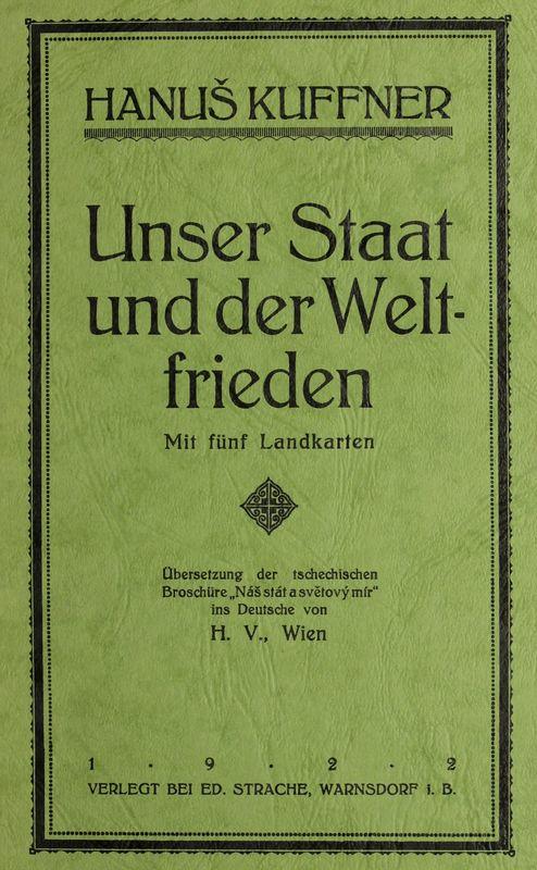 Cover of the book 'Unser Staat und der Weltfrieden'