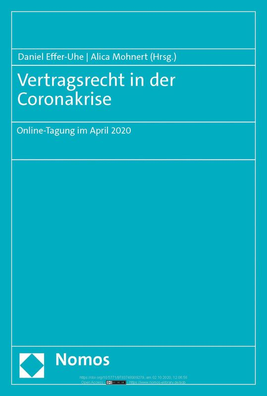Bucheinband von 'Vertragsrecht in der Coronakrise'