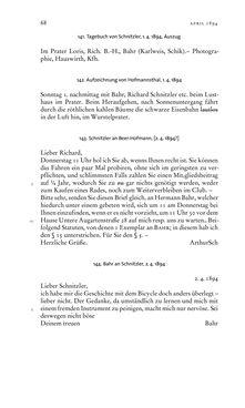 Bild der Seite - 68 - in Arthur Schnitzler & Hermann Bahr - Briefwechsel, Aufzeichnungen, Dokumente 1891–1931