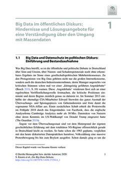 Bild der Seite - 1 - in Die Big-Data-Debatte - Chancen und Risiken der digital vernetzten Gesellschaft